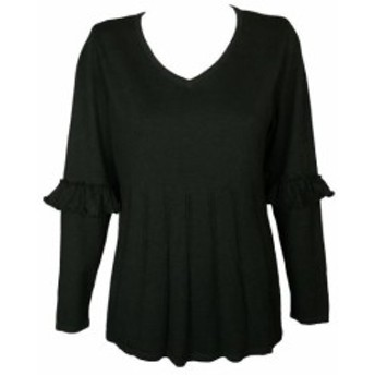 HEATHER  ファッション トップス Style & Co Plus Size Black Heather Ruffled-Sleeve Pleated Sweater 1X