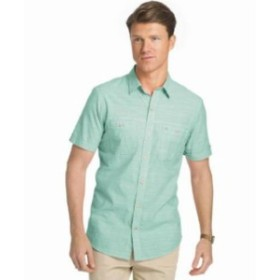 IZOD アイゾッド ファッション アウター Izod Dockside Chambray Creme De Menth Short Sleeve Button Down Shirt