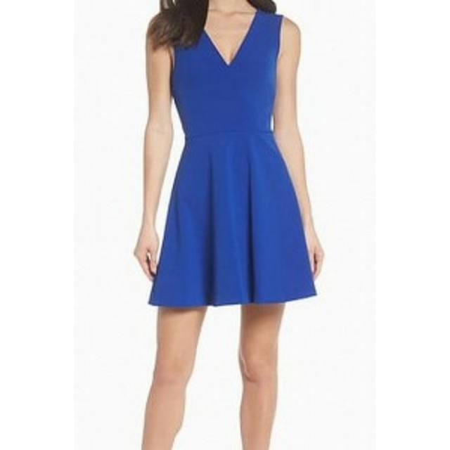FELICITY & COCO フェリシティアンドコー ファッション ドレス FELICITY & COCO NEW Blue Pleated V-Neck Womens XL Flare A-Line Dress