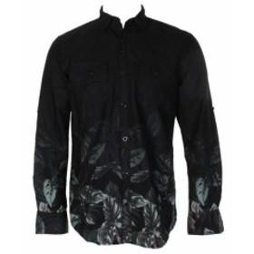 ファッション アウター Inc International Concepts Black Green Pieced Leaf Print Button Down Shirt S