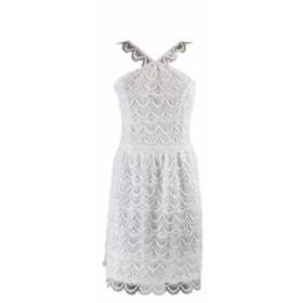 kensie ケンジー ファッション ドレス Kensie White Sleeveless Crochet Straight Dress S