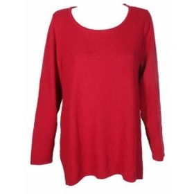 Red  ファッション トップス Charter Club Plus Size Red Textured Knit Crew Neck Long Sleeve Tunic Sweater
