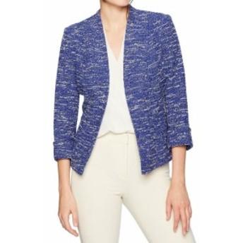 ファッション 衣類 Kasper NEW Blue Womens 10 Open-Front Cuffed-Sleeve Tweed Knit Jacket