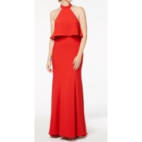 Red  ファッション ドレス Xscape NEW Deep Red Womens Size 8 Popover Ruffled Draped Gown Dress