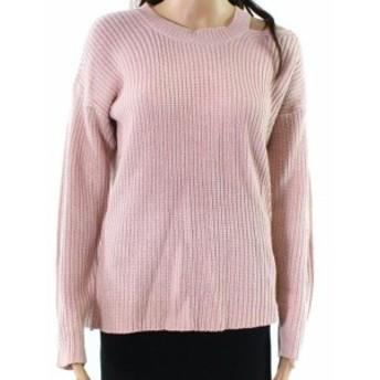 ファッション トップス RDI NEW Pink Womens Size Large L Cut-Out Waffle-Knit Pullover Sweater