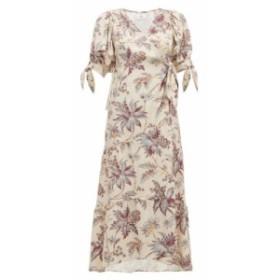 サー Sir レディース パーティードレス ラップドレス ワンピース・ドレス avery floral-print silk wrap dress Beige