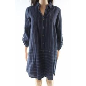 ファッション ドレス All in Favor NEW Blue Womens Size Small S Striped Pocket-Front Shirt Dress #994