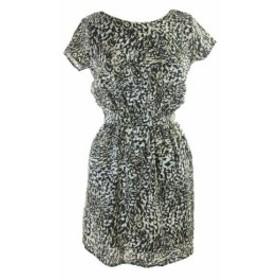 Pocket  ファッション ドレス Bar Iii Black White Printed Cinched-Waist Pocket Dress S