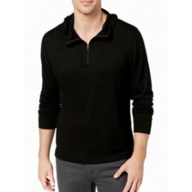 Alfani  ファッション トップス Alfani NEW Black Mens Size Medium M Hooded 1/2 Zip Stretch Tee T-Shirt