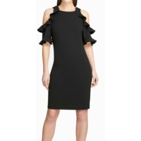 DKNY ダナキャランニューヨーク ファッション ドレス DKNY Womens Dress Black Size 4 Sheath Cold-Shoulder Ruffled Crepe