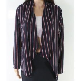 ファッション 衣類 Moa Moa NEW Blue Womens Size Medium M Striped Draped Open Jacket