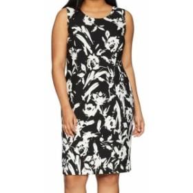 ファッション ドレス Kasper NEW Black Vanilla Womens Size 22W Plus Floral Sheath Dress