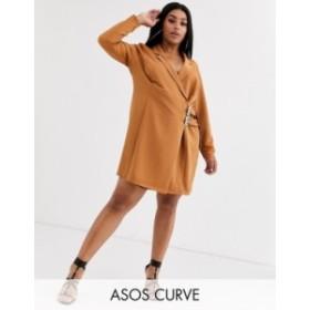 エイソス レディース ワンピース トップス ASOS DESIGN Curve mini tux dress with buckles Tan