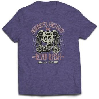 lepni.me 男性用Tシャツ ルート66、アメリカのハイウェイ - ロードラッシュ、バイカー服 (XL 杢グレー 多色)