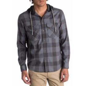 Quiksilver クイックシルバー ファッション アウター Quiksilver NEW Gray Mens Size Medium M Plaid Hooded Button Down Shirt