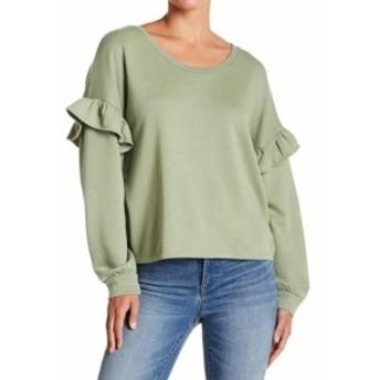 lucky ラッキー ファッション トップス Lucky Brand NEW Deep Green Womens Size XL Scoop Neck Ruffled Sweater