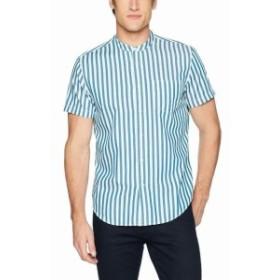 Calvin Klein カルバンクライン ファッション アウター Calvin Klein Mens Shirt Blue Size XL Stripe Banded Collar Button Up