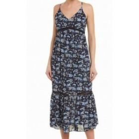 CeCe  ファッション ドレス Cece Womens Blue Size 10 Floral Print Ladder Trim V-Neck Maxi Dress
