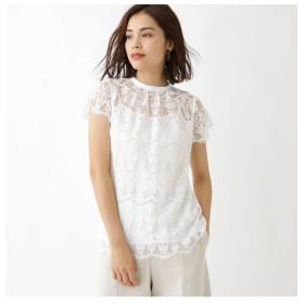 【アクアガール/aquagirl】 フラワーレースバンドカラーシャツ
