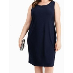 Shift  ファッション ドレス R&M Richards Womens Navy Blue Size 16W Plus Floral Lace Shift Dress