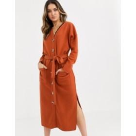 エイソス レディース ワンピース トップス ASOS DESIGN super soft belted midi dress Rust