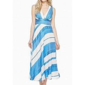 Eva by Eva Franco  ファッション ドレス Eva By Eva Franco NEW Blue White Women Size 14 V-Neck Stripe Maxi Dress