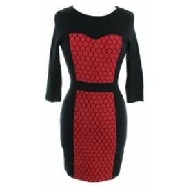 kensie ケンジー ファッション ドレス Kensie New Rouge Combo Contrast 3/4-Sleeve Ponte Sheath Dress S
