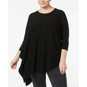 Anne Klein アンクライン ファッション トップス Anne Klein NEW Black Womens 2X Plus Asymmetric Embellish Sweater