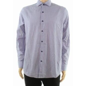 Plaid  ファッション ドレス Tasso Elba Mens Dress Shirt Purple Size 15 1/2 Medium Plaid Print
