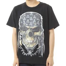 [Cicogna] メンズ Tシャツ スカル 半袖 ドクロ 骸骨 悪魔 デビル 死神 綿 ストリート系 パンク ロック トップス (YW: Lサイズ)