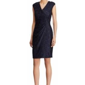 American  ファッション ドレス American Living Womens Dress Blue Size 4 Sheath Metallic Floral Lace