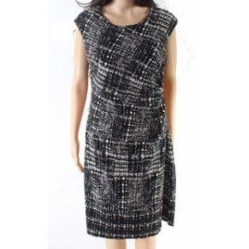 One  ファッション ドレス Studio One NEW Black Womens Size 12 Printed Ruched Sheath Dress