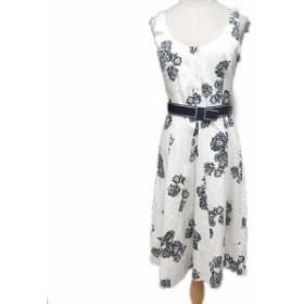 【中古】マックス&コー MAX&CO. ワンピース 花柄 ベルト ノースリーブ ロング 42 白 ホワイト 紺 ネイビー/1