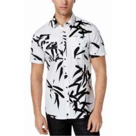 Pocket  ファッション アウター INC Mens Pure White Black Size XL Four Pocket Button Down Shirt