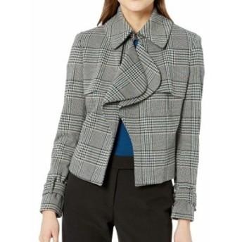 Anne Klein アンクライン ファッション 衣類 Anne Klein Womens Black Size 10 Ruffle Glen Plaid Houndstooth Jacket