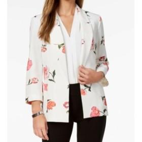 Nine West ナインウエスト ファッション 衣類 Nine West NEW White Womens Size Large L Floral Crepe Open Front Jacket