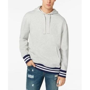 American  ファッション トップス American Rag Mens Sweater Gray Size Medium M Stripe Pocket Hooded