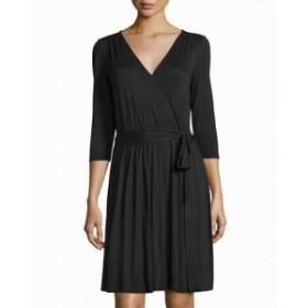 Three Dots スリー ドッツ ファッション ドレス Three Dots NEW Black Womens Size Medium M Surplice Sheath Dress