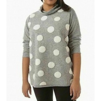 ファッション トップス TRISHA TYLER NEW Gray Polkadot Print Womens 1X Plus Cowl Neck Sweater