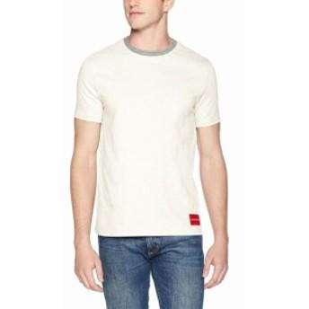Calvin Klein カルバンクライン ファッション トップス Calvin Klein Mens White Ivory Medium M Rib-Collar Contrast Tee T-Shirt