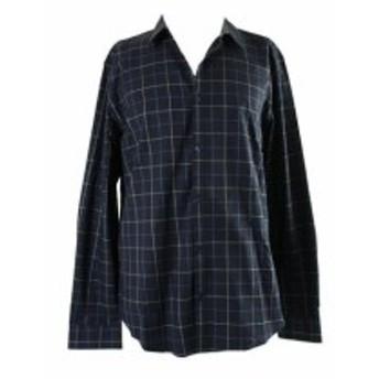 Calvin Klein カルバンクライン ファッション アウター Calvin Klein Cadet Navy Slim Fit Herringbone Check Shirt XL