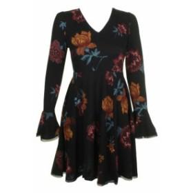 American  ファッション ドレス American Rag Juniors Black Multi Bell Long-Sleeve Floral Fit & Flare Dress S