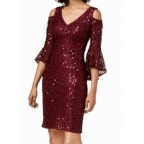 Nightway  ファッション ドレス Nightway Womens Dress Red Size 4 Sheath V-Neck Cold Shoulder Sequin