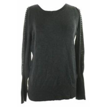 Alfani  ファッション トップス Alfani Gray Embellished-Sleeve Sweater XS