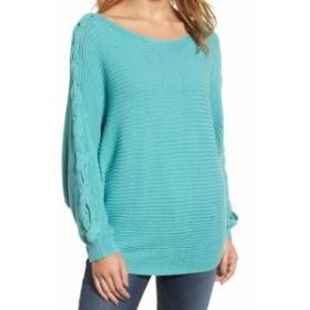 ファッション トップス Caslon Womens Blue Size Small PS Petite Braided Sleeve Pullover Sweater #297
