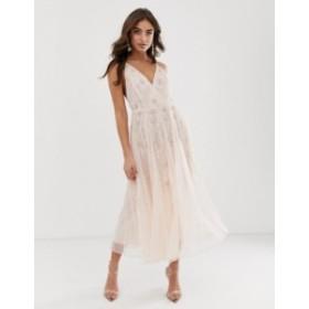 エイソス レディース ワンピース トップス ASOS DESIGN strappy midi dress in delicate floral embellishment Pink