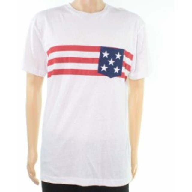 star スター ファッション トップス Club Room White Red Mens Size Large L Star Stripe Graphic Print Tee Shirt #132