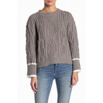 elan エラン ファッション トップス ELAN Womens Dark Gray Size Large L Cable Knit Striped Cuff Sweater