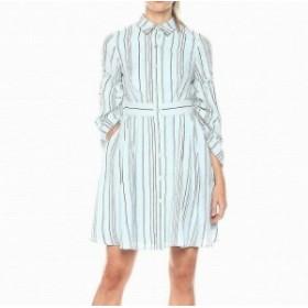 taylor テイラー ファッション ドレス Taylor NEW Blue Womens Size 12 Drawstring Sleeve Stripe Shirt Dress