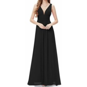ファッション ドレス Ever Pretty Womens Gown Black Size 16 V-Neck Solid Chiffon Ruched